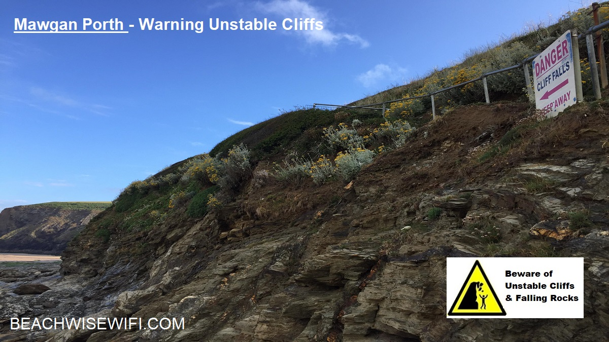 Mawgan-Porth-Unstable-cliffs-and-warning-sign